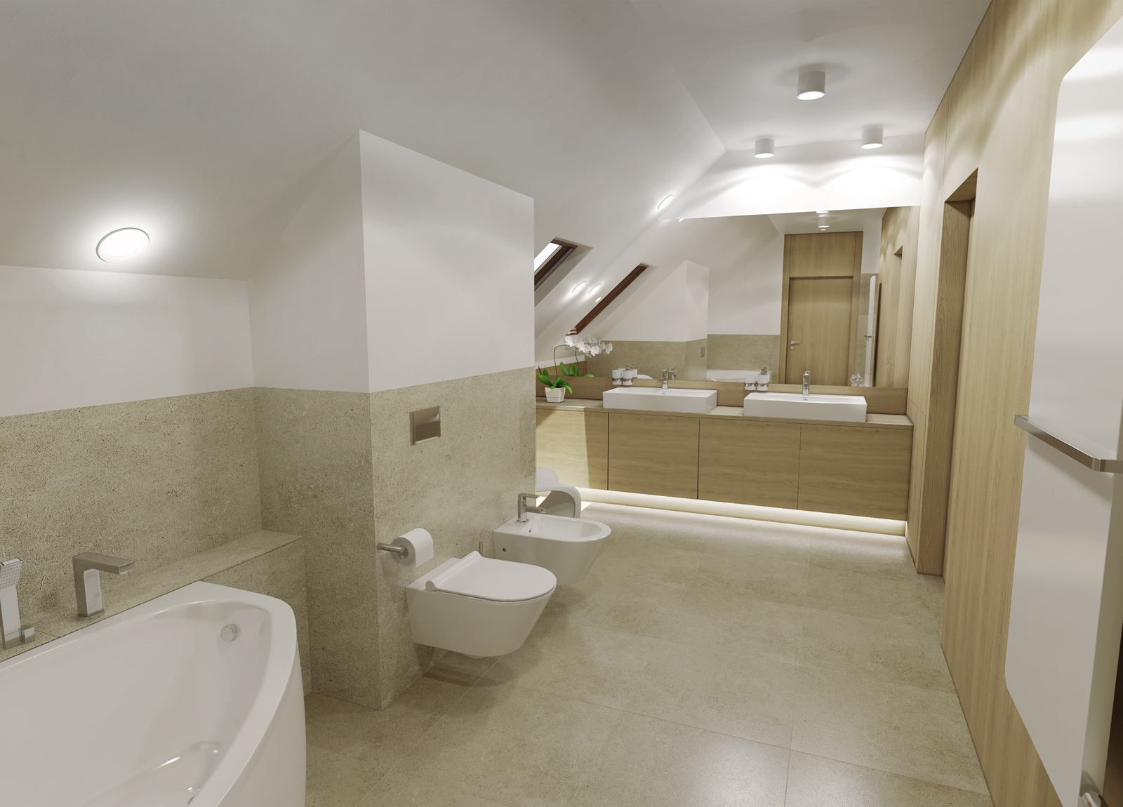 Wizualizacja łazienka Na Poddaszu W Drewnie Colormedia
